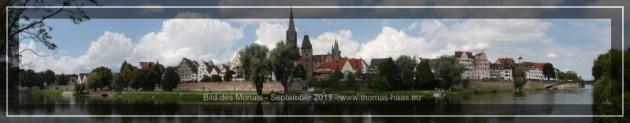 Panorama der Altstadt von Ulm/Donau, von der bayrischen Seite aus fotografiert.