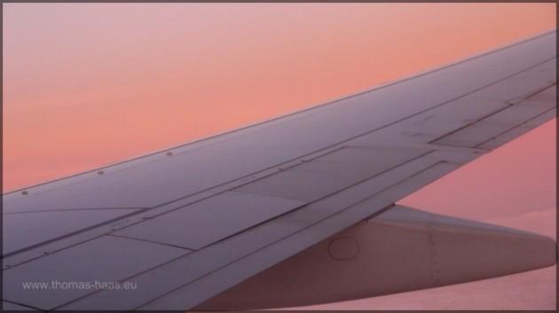 Tragfläche, Licht bei Sonnenaufgang
