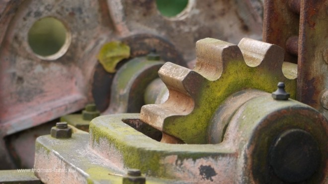 Detail der Mechnik an einem Fallenstock