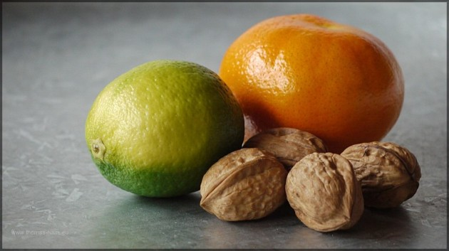 Limette, Mandarine, Walnuss
