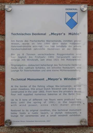 Daten der Mayer´s Mühle, Warnemünde