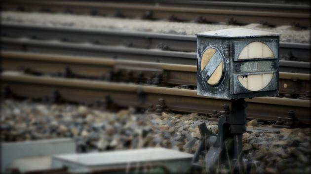 Weichenlaterne in TiltShift, Einfahrt Gleis 2 Illertissen