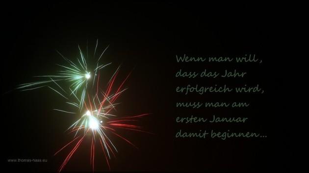Feuerwerk, Text mit gutem Vorsatz zur Veränderung