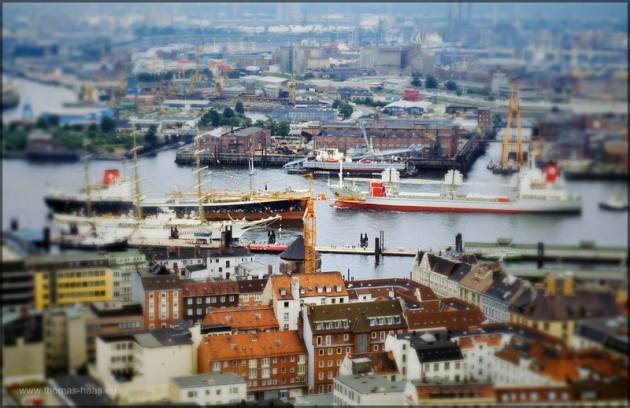 Hamburger Hafen, Dia von 1982, Bearbeitung im Februar 2014