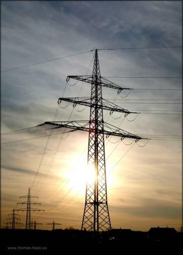 Sonnenuntergang am Umspannwerk, März 2014