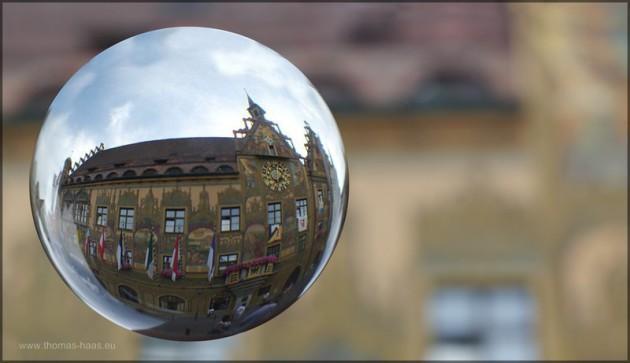 Kugelbild Ulmer Rathaus, Festagsschmuck zur Schwörwoche, Juli 2014