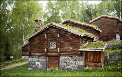 Alter Bauernhof im Freilischtmuseum Maihaugen, Lillehammer
