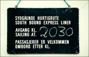 Abfahrtsankündigung Hurtigrute 1983