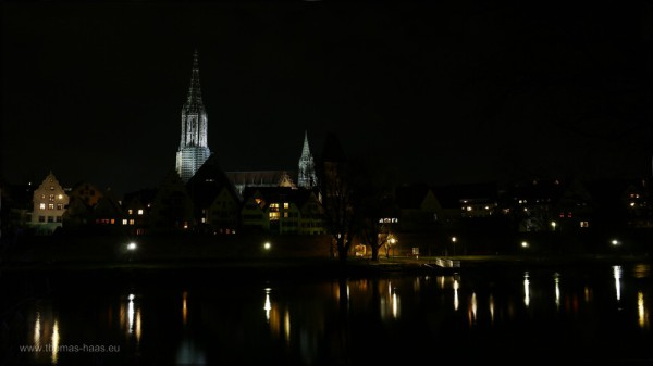 Blick von Neu-Ulm auf das Münster, 24.12.2014
