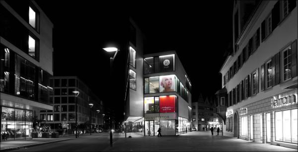 Nachtaufnahme, Panorama, Neue Mitte, Ulm, Münstertor