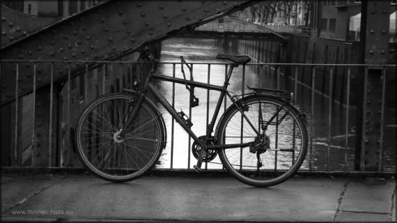 Fahrrad in der Speicherstadt, Hamburg, Dezember 2014