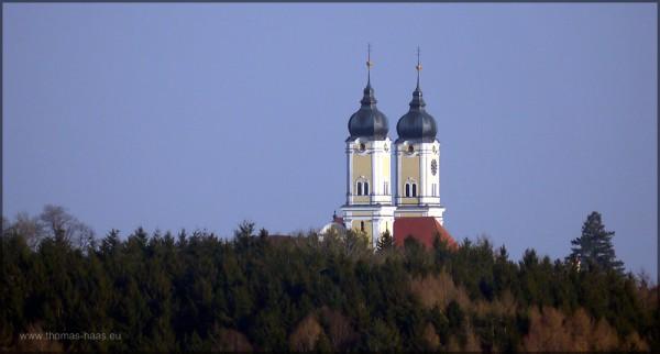 Die Türme der Roggenburger Klosterkirche erheben sich über dem Wald, März 2015