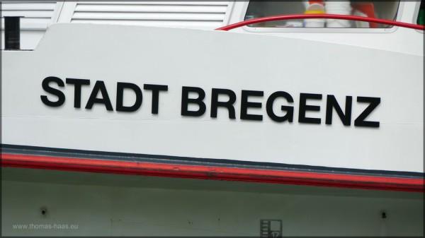"""Schriftzug """"Stadt Bregenz"""" auf Bodensee-Schiff"""