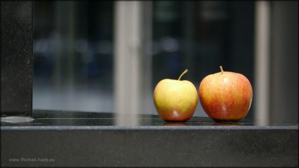 Vor dem Kunsthaus drapierte Äpfel, Mai 2015