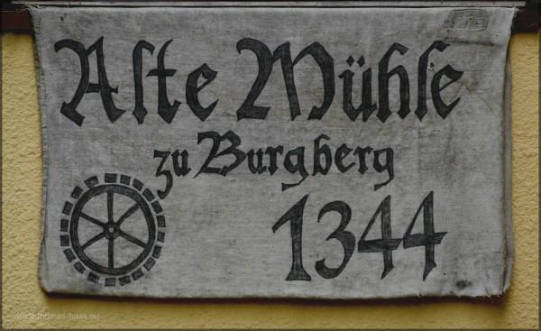 "Logo ""Alte Mühle Burgberg, 1344"", Mai 2015"