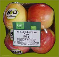 Bio-Äpfel in Verkaufsverpackung, Mai 2015