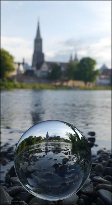 Von der Kiesbank in Neu-Ulm, das Münster im Juni 2015