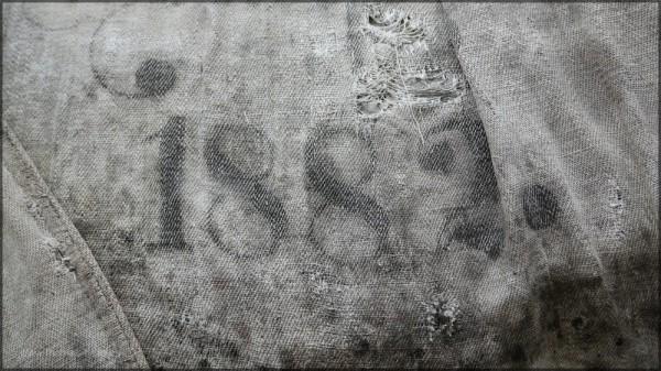 1882 - Jahreszahl auf einem alten Sack, Mai 2015