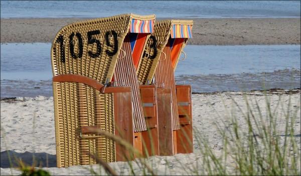 Strandkörbe am Ostseestrand, Juli 2015