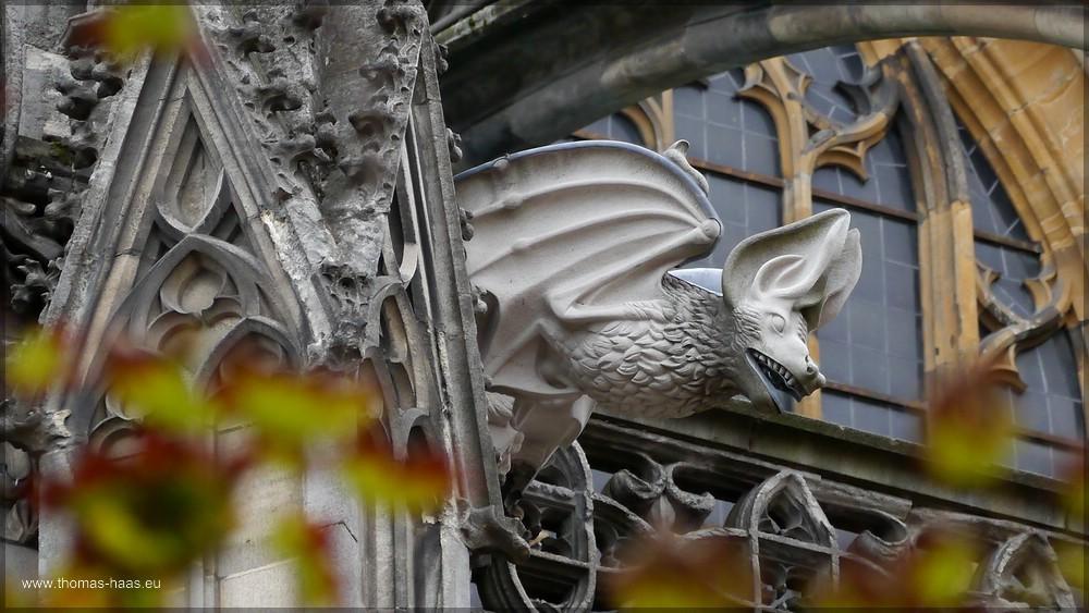 Herbstlaub und Wasserspeier, Münster Ulm, Nordseite, September 2015