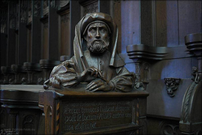 Detail, altes Chorgestühl, Seneca