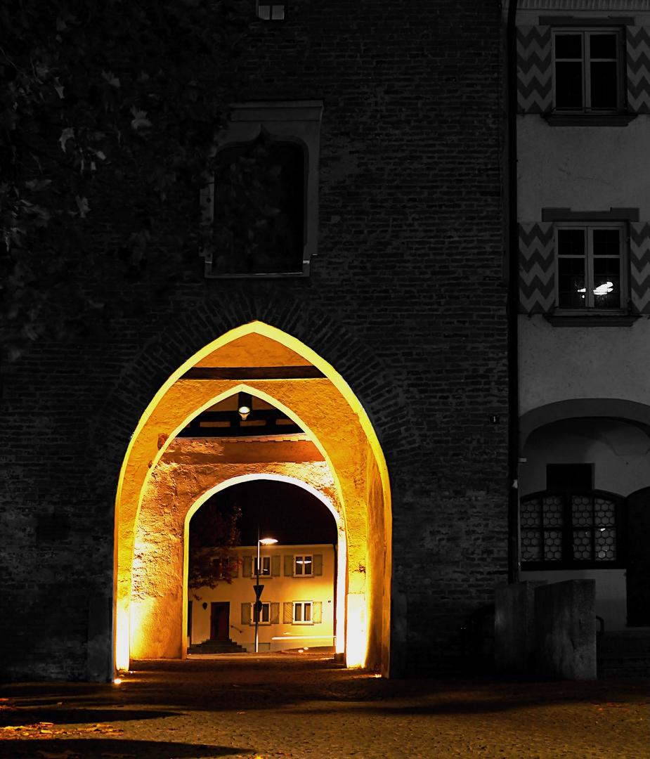 """Bildbearbeitung, das """"Obere Tor"""" in Weißenhorn, Oktober 2015"""
