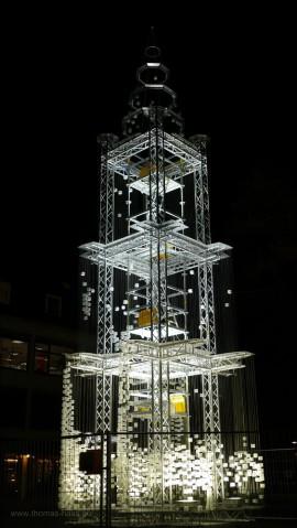 """Temporäres Kunstwerk """"Wir sind Münsterturm"""" auf dem Judenhof, Nov. 2015"""