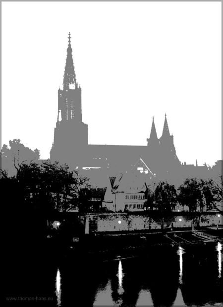 Grafik, Ulm, Donau und Münster