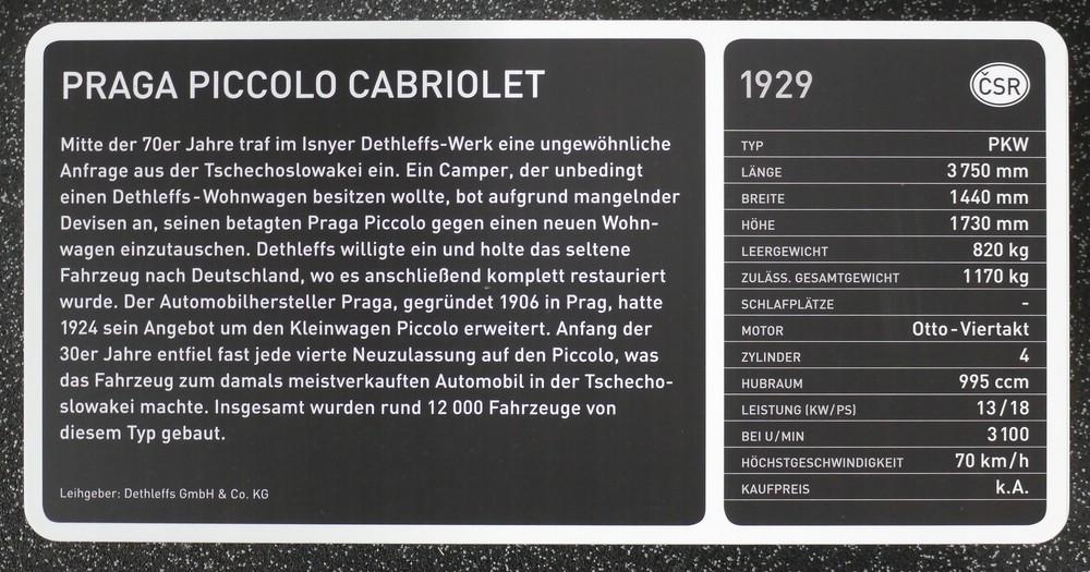 Praga Piccolo Cabriolet, 1929, Daten und Geschichte