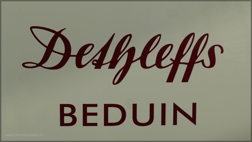"Schriftzug ""Dethleffs Beduin"", Hymer-Museum, Bad Waldsee, Januar 2016"