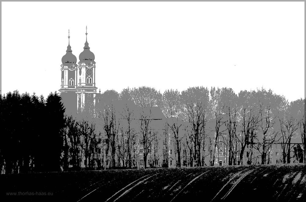 Die Türme der Klosterkirche in Roggenburg, Bearbeitung in Gimp, April 2016