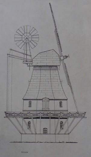Ansicht/Zeicnung der Mühle, Foto aus dem Juni 2016