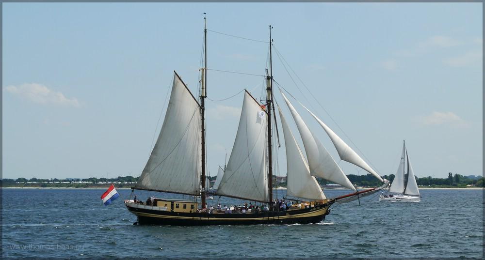 Schoner ZUIDERZEE mit gesetzten Segel auf der Kieler Förde, Juni 2016