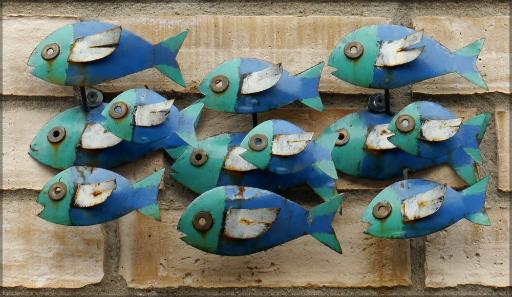 Kunst an der Fassade, Fischschwarm, Juni 2016