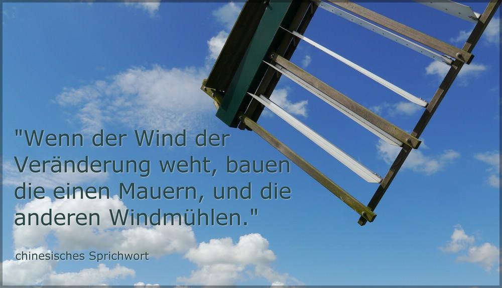 """Flügel der Windmühle """"AURORA"""", Weddingstedt, mit Sprichwort, Juli 2016"""