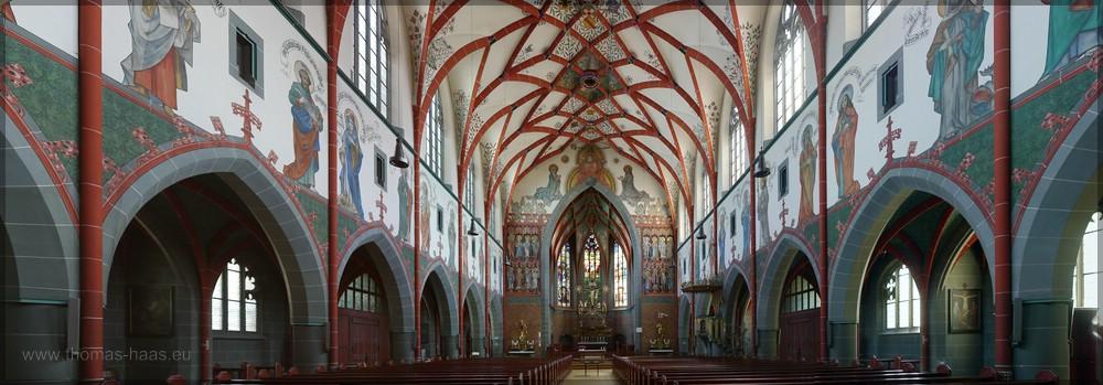 Georgskirche, Innenraum, aus mehreren Aufnahmen gestiched, Juni 2016