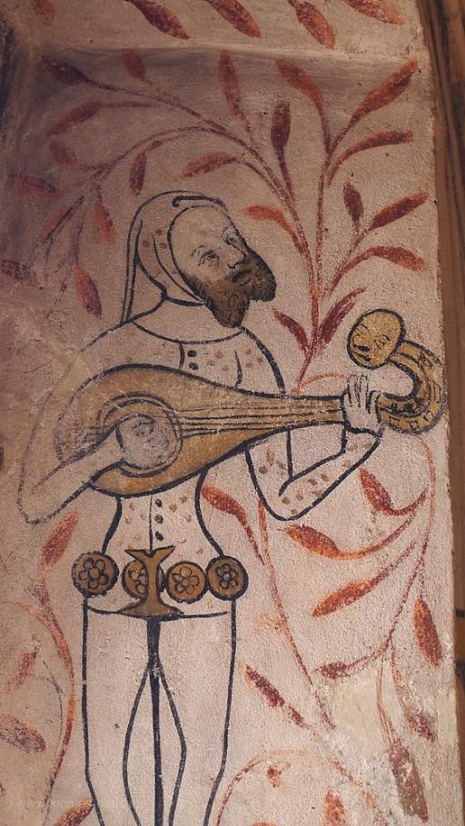 Spielmann mit Laute, Fresko, Ulm