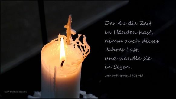... brennende Kerze, Zitat von Jochen Klepper