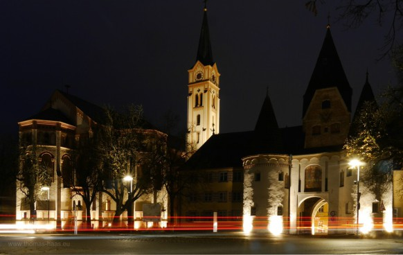 Oberes Tor in Weißenhorn bei Nacht, November 2016
