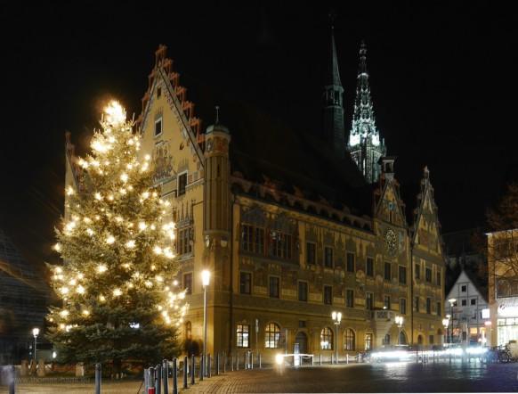 Langzeitbelichtung, Rathaus, Münsterturm, Dezember 2016