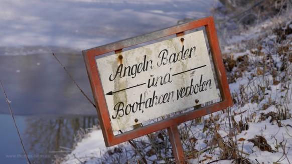 Baggersee Au, Hinweisschild, Januar 2017
