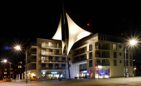 Eckernförde, Hafenspitze, Nachtaufnahme, Februar 2017