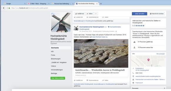 Screenshot mit Hinweis auf die Mühlenbilder, April 2017
