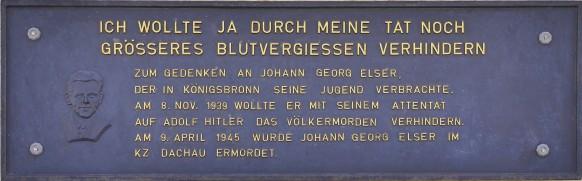 Gedenktafel für Johann Georg Elser