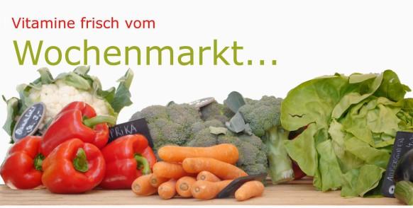 Vitamine vom Wochenmarkt, Salat und Gemüse