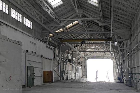 Blick in die wohl letzte bestehende Werft-Halle, Bodan Werft, Oktober 2017