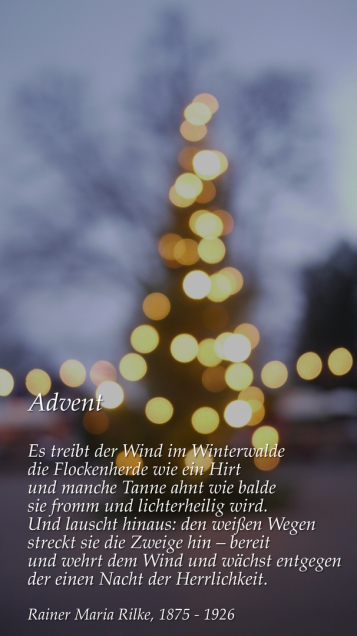 Gedicht zur Adventszeit in Bildmotiv eingebaut, November 2017