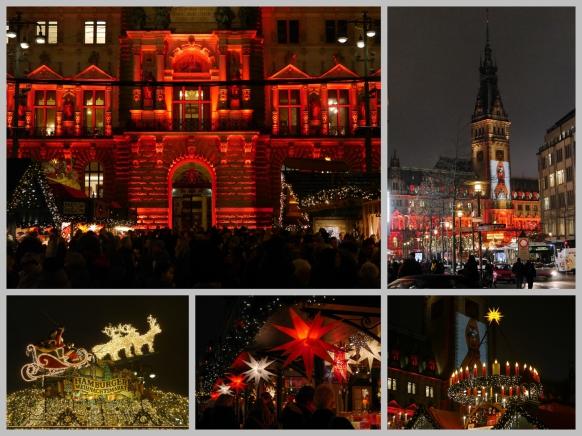 Collage Weihnachtsmarkt, Rathausmarkt, Hamburg 2017