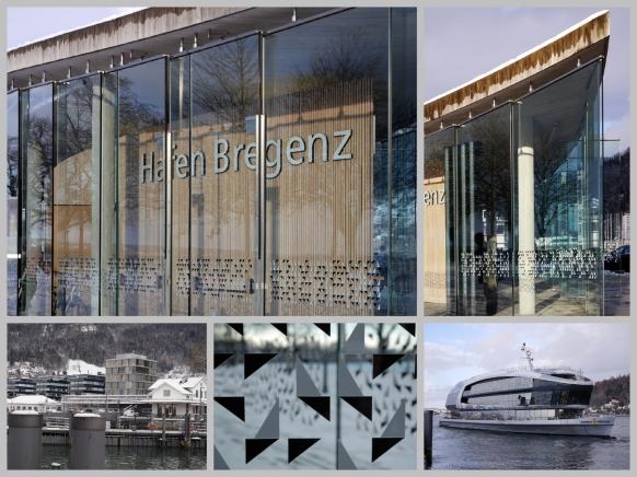 """Im Hafenbereich Bregenz, mit der """"Sonnenkönigin"""", Dezember 2017"""