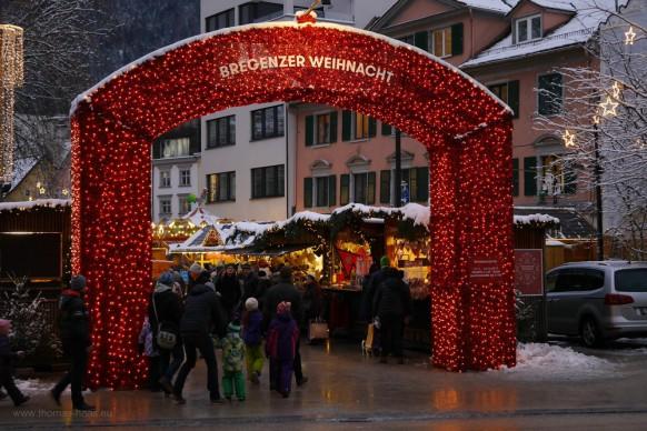 Eingan zum Weihnachtsmarkt, Bregenz, Unterstadt, Dezember 2017